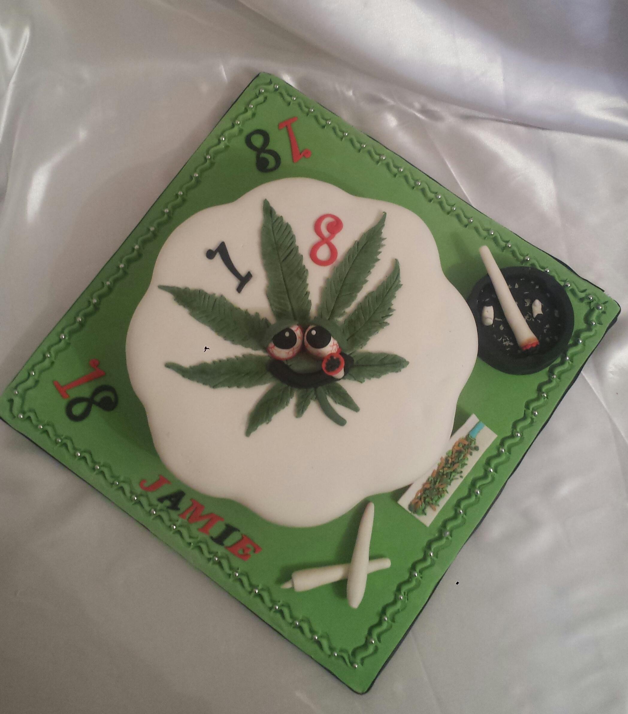 Novelty Cannabis Leaf Cake