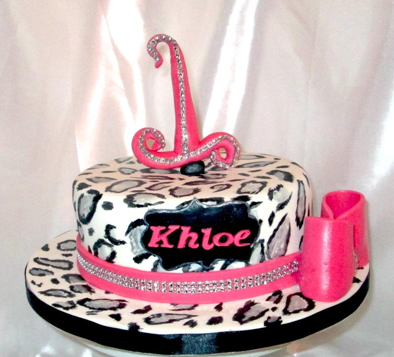Lepoard Print 1st Birthday cake leopard print birthday cake on birthday cakes in birmingham west midlands