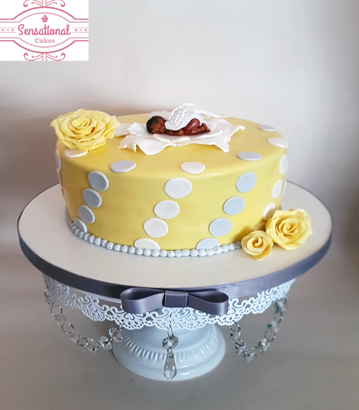 Yellow Grey U0026 White Baby Shower Cake
