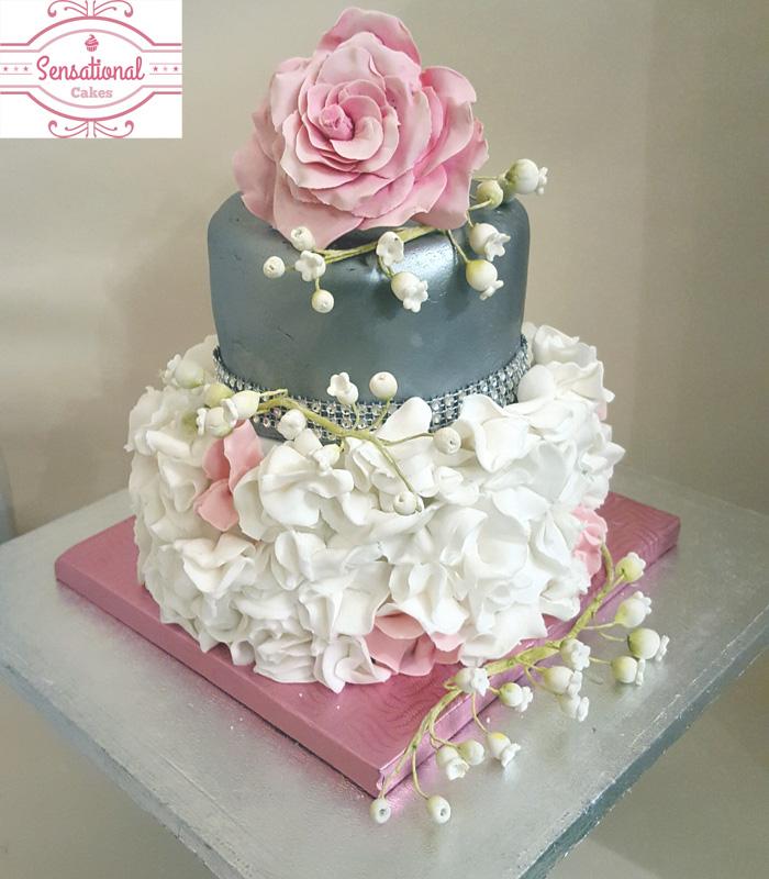 Ruffles Lustre 2 tier cake Sensational Cakes