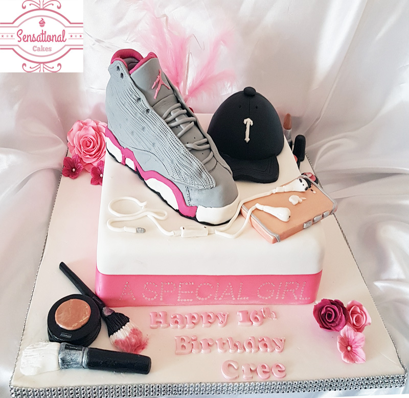 16th Birthday cake Micheal Jordan I phone7 Trapstar MAC Makeup