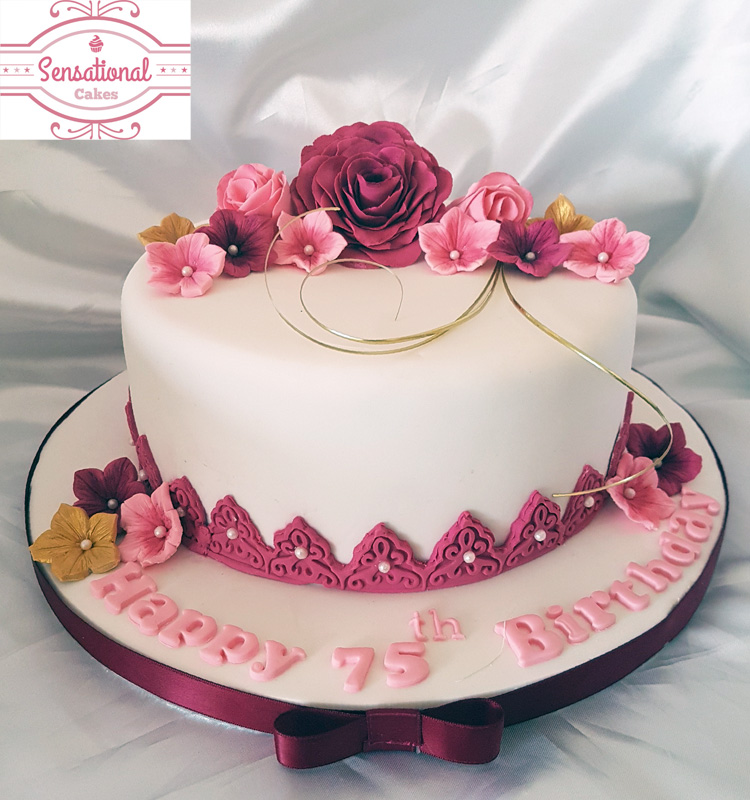 75th Birthday cake with gumpaste flowers