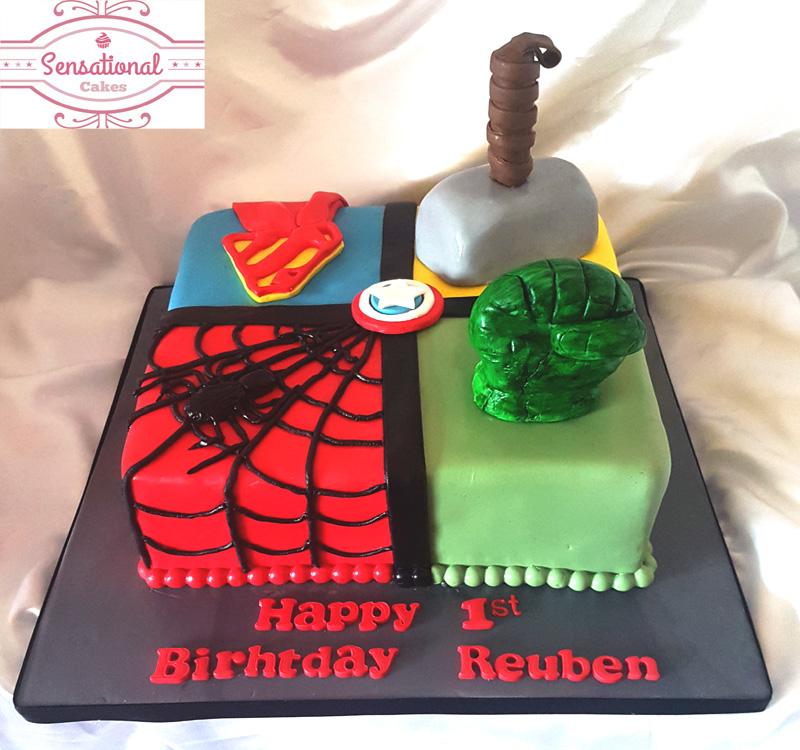 Superheros Hulk Captain America Spiderman Superman Birthday Cake