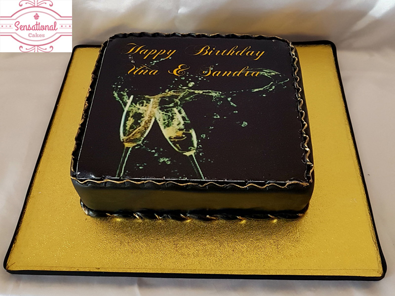 Black And Gold 50th 90th Birthday Cake