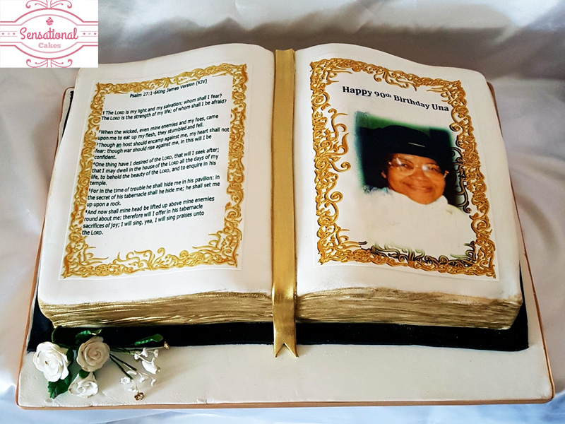 Open Book 90th Birthday Cake