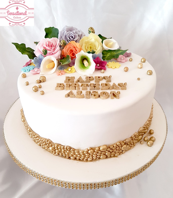 floral birthday cake front Sensational Cakes