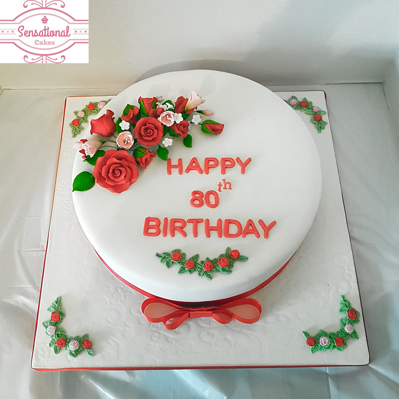 80th Birthday Cake Red Roses