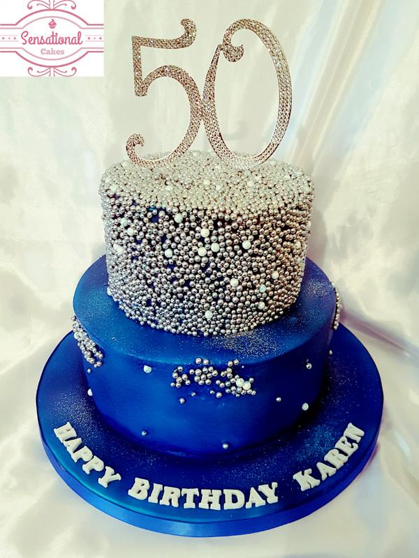 Blue and Silver birthday cake Sensational Cakes