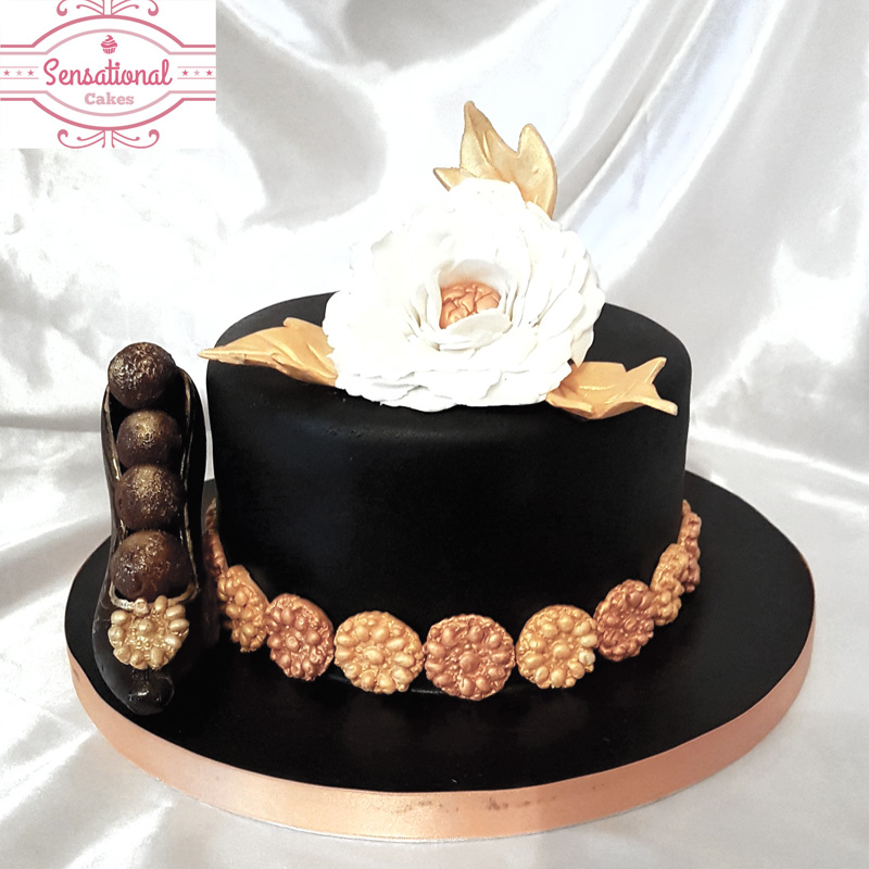 Black And Gold Birthday Cake Sensational Cakes